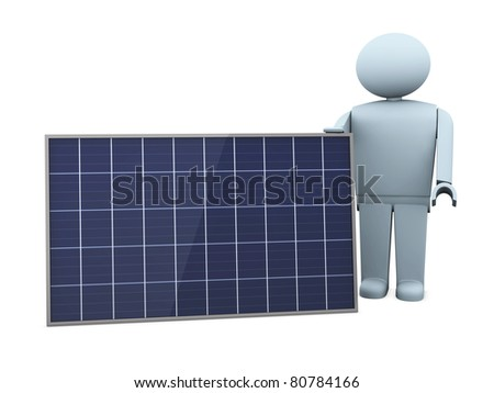 one stylized man with a solar panel (3d render) - stock photo