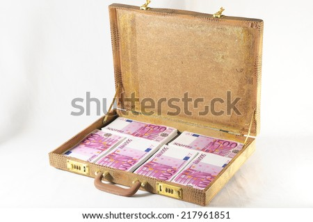 One Suitcase Full of Pink 500 Euros Banknotes - stock photo
