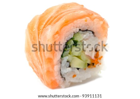 One sushi with salmon isolated on white background
