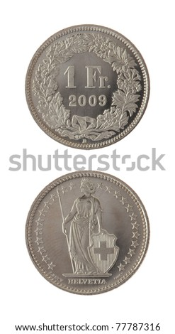 One Swiss Franc coin isolated on white - stock photo