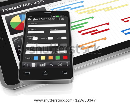 One tablet pc cellphone project manager stock illustration 129630347 one tablet pc and a cellphone with project manager software and gantt chart 3d render ccuart Gallery