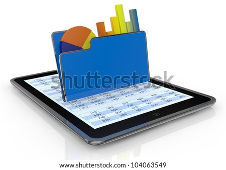 one tablet pc with a computer folder and  bar chart and a pie chart (3d render) - stock photo