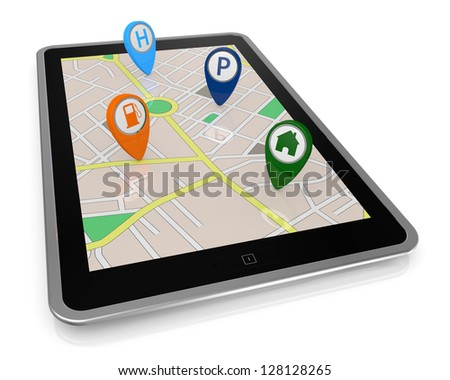 one tablet pc with a gps map and some pointers that show important places (3d render)