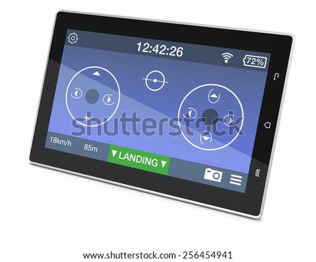 one tablet pc with an app for remote control of a drone (3d render) - stock photo