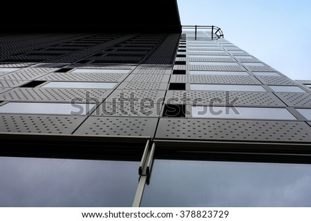 one tall and modern office buliding part .  - stock photo