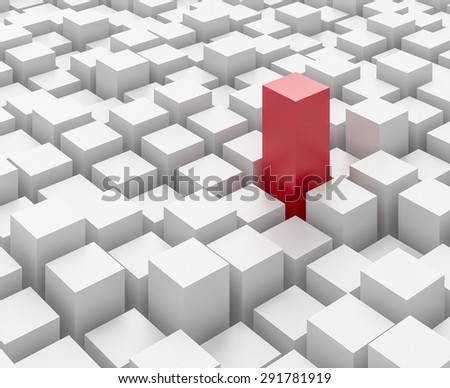 One tall red block amongst a mass of white blocks.