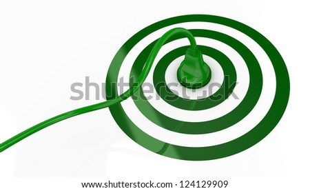 one target with an electric plug that plugs in at the center (3d render) - stock photo