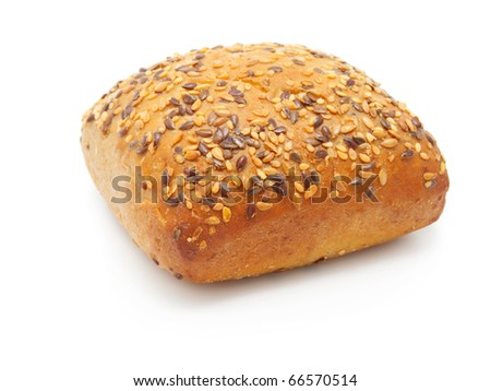 One tasty baked rolls with sesame isolated on a white background