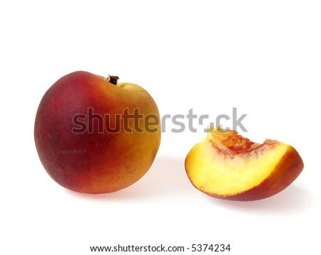 One tasty juicy peache and piece on a white background - stock photo