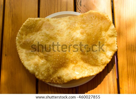 one tchebourek with meat on a table - stock photo