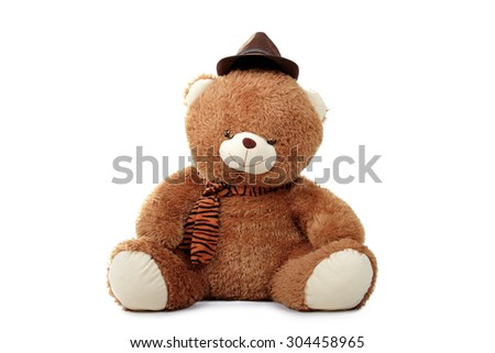One teddy bear doll wear hat and scarf seated, isolated on white background - stock photo