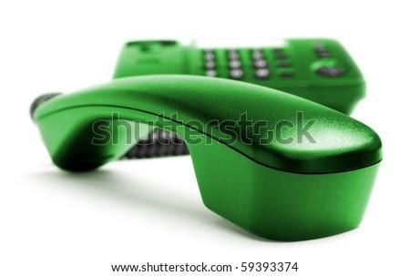 One telephone isolated on white background - stock photo