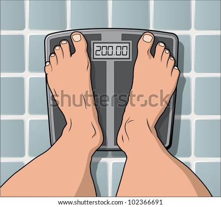 One the scale weighing in at 200 pounds. eps version 10 layer separated artwork. - stock photo