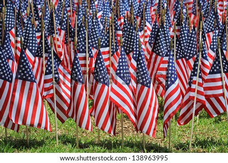 One Thousand Flags on Memorial Day - stock photo