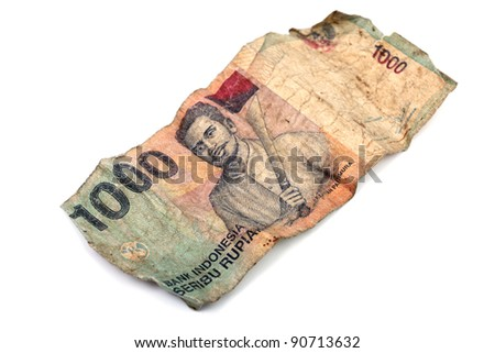 One thousand Indonesian Rupiah banknote isolated on white background. - stock photo