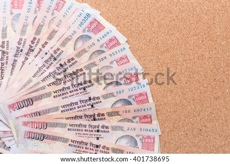 One thousand rupee note (Indian Currency) - stock photo
