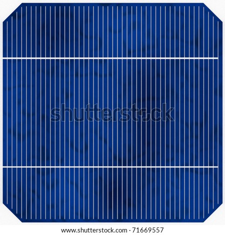 One tile-able blue solar cell with even light (detailed render) - stock photo