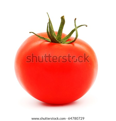 one tomato isolated on white - stock photo