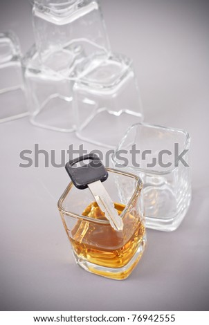 One Too Many Whiskey Shots To Be Driving - stock photo