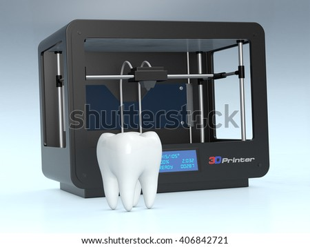 one tooth with a 3d printer on background, concept of 3d printing and medicine (3d render) - stock photo