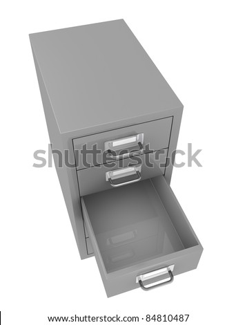 one top view of a file drawer with an empty open drawer (3d render) - stock photo