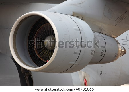 One turbine of military jet air force - stock photo