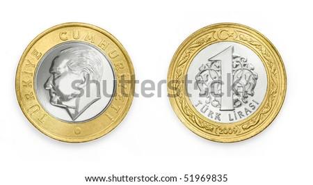 One Turkish Lira - stock photo