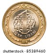 one Turkish lira coin - stock photo