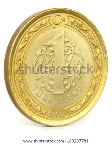 One Turkish Lira Coin isolated on white - stock photo