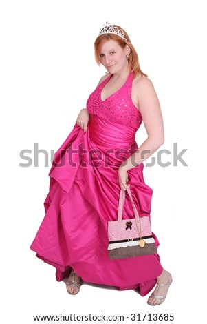 one twenties redhaired woman in a hot pink prom type dress over white - stock photo