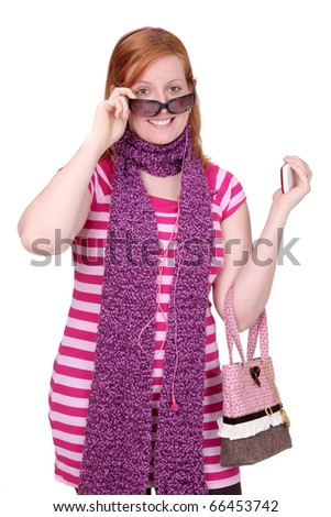 one twenties redhaired woman with glasses and scarf over white - stock photo