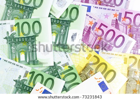 One, two and five hundred Euro banknotes - stock photo