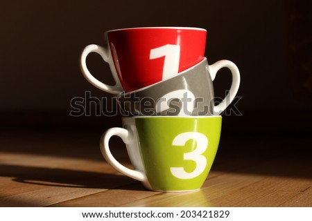 One two three - cups - stock photo