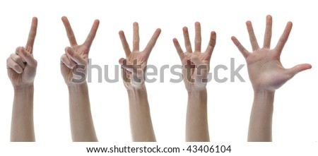 One Two Three Four Five Counting Finger Hands set group isolated on white background. - stock photo