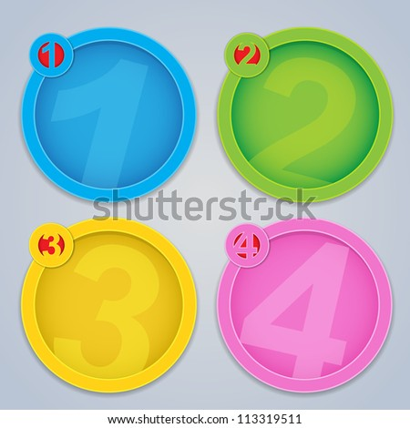 One, Two, Three, Four progressive circular labels in colors - stock photo