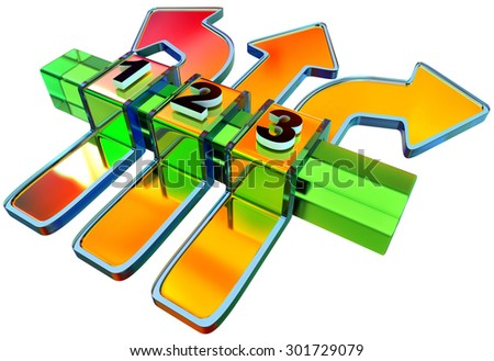 One two three - icons of symbol progress of overcoming obstacles for consecutive steps with arrows for choice of motion for directions - stock photo