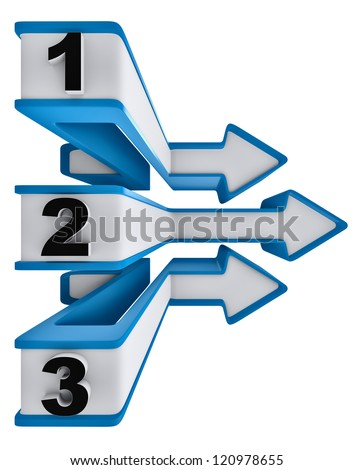 One two three - icons of symbol progress of overcoming obstacles for three steps with arrows for choice of motion for directions - stock photo
