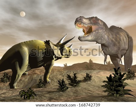 One tyrannosaurus roaring at triceratops dinosaur in desertic landscape by night - stock photo