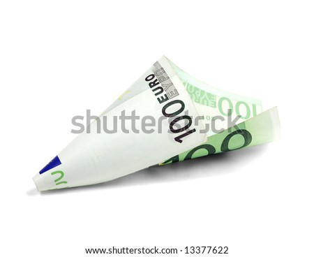 one undred euro bill on white background