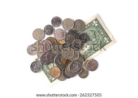 One US dollar and Russian coins.  - stock photo