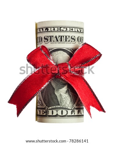 One US dollar wrapped by ribbon isolated on white background - stock photo