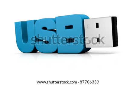 one usb key made with the word: usb (3d render) - stock photo