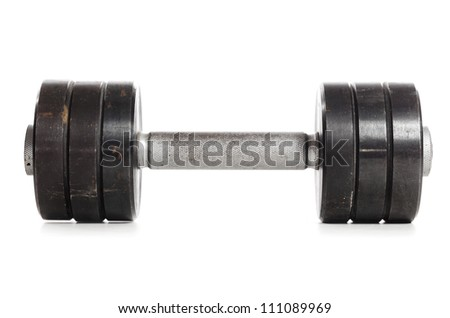one used metal barbell isolated on white - stock photo