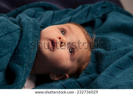 One very cute  five-month-old baby after bath - stock photo