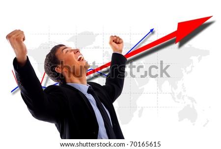One very happy energetic businessman - stock photo