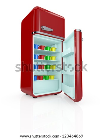 one vintage fridge full of colored yogurt cups (3d render) - stock photo