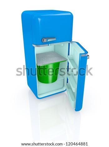 one vintage fridge with a big yogurt cup inside (3d render) - stock photo