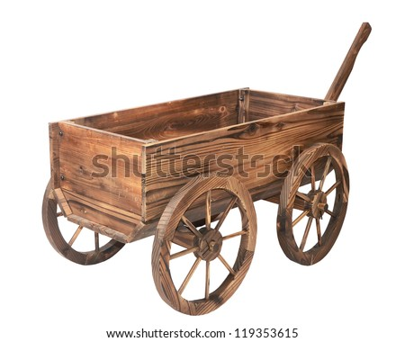 one vintage wooden cart isolated on white - stock photo