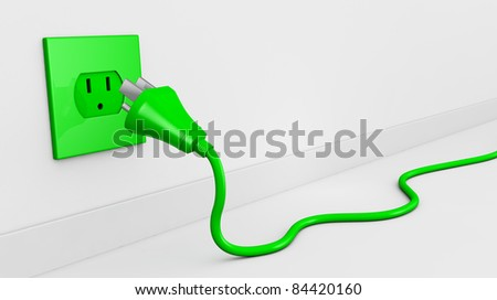 one wall with an electric plug and a cable of green color (3d render). some empty space for text - stock photo