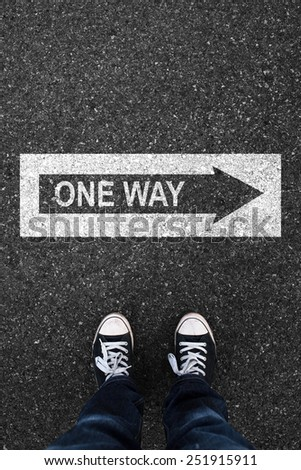 One way and asphalt sign - stock photo